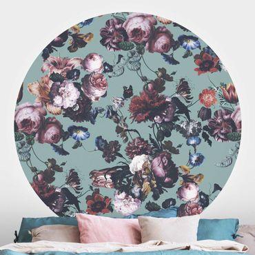 Runde Tapete selbstklebend - Altmeisterliche Blüten mit Tulpen und Rosen auf Blau