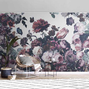 Metallic Tapete  - Altmeisterlicher Blumenrausch mit Rosen Bouquet