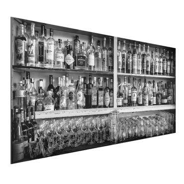 Alu-Dibond Bild - Bar Schwarz Weiß