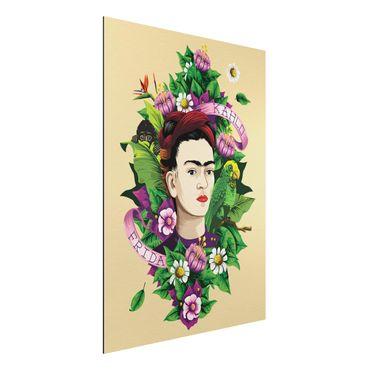 Alu-Dibond Bild - Frida Kahlo - Frida, Äffchen und Papagei
