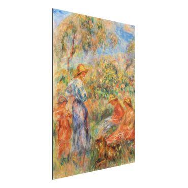 Alu-Dibond Bild - Auguste Renoir - Zwei sitzende und eine stehende Frau, ein Kind (Landschaft mit drei Frauen und einem Kind)