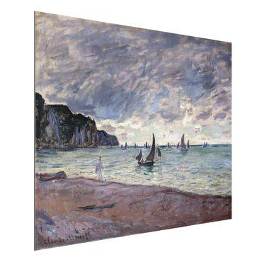 Alu-Dibond Bild - Claude Monet - Fischerboote vor der Küste und den Felsen von Pourville