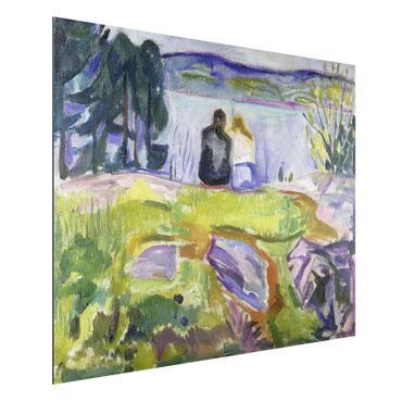 Alu-Dibond Bild - Edvard Munch - Frühling (Liebespaar am Ufer)