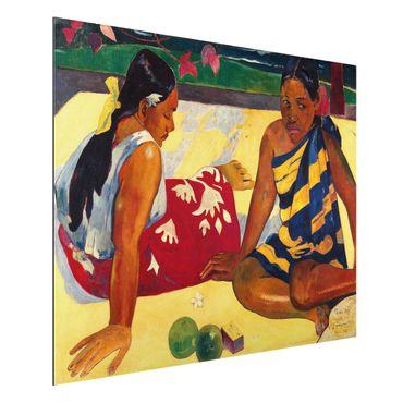 Alu-Dibond Bild - Paul Gauguin - Zwei Frauen von Tahiti. Parau Api (Gibt's was Neues?)