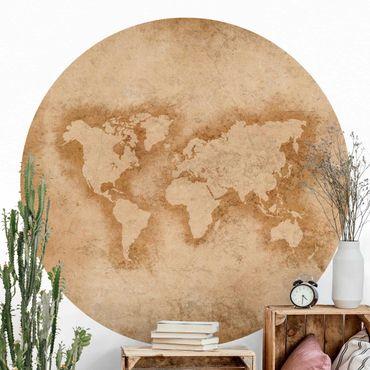 Runde Tapete selbstklebend - Antike Weltkarte