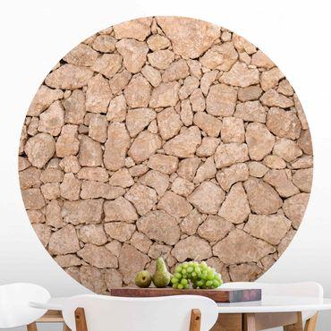 Runde Tapete selbstklebend - Apulia Stone Wall - Alte Steinmauer aus großen Steinen