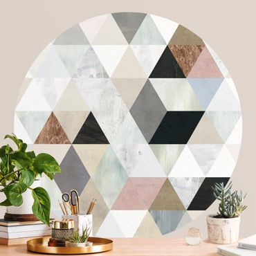 Runde Tapete selbstklebend - Aquarell-Mosaik mit Dreiecken I