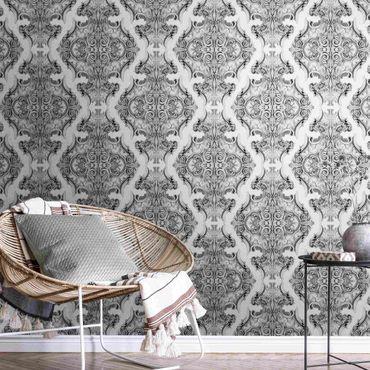 Metallic Tapete  - Aquarell Barock Muster in Grau
