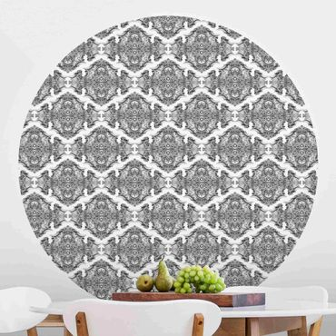 Runde Tapete selbstklebend - Aquarell Barock Muster mit Ornamenten in Grau