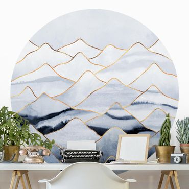 Runde Tapete selbstklebend - Aquarell Berge Weiß Gold