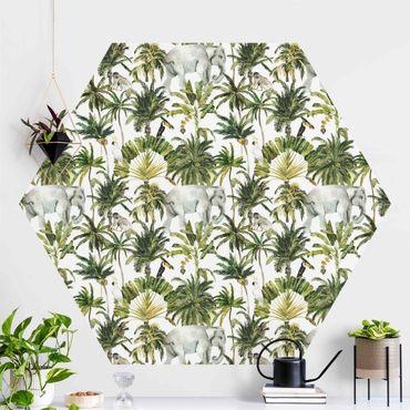 Hexagon Mustertapete selbstklebend - Aquarell Elefant und Palmen Muster