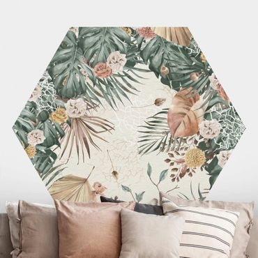 Hexagon Mustertapete selbstklebend - Aquarell getrocknete Blumen mit Farne