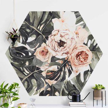 Hexagon Mustertapete selbstklebend - Aquarell Monstera Bouquet