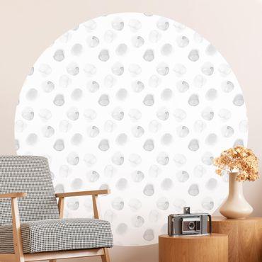 Runde Tapete selbstklebend - Aquarell Punkte Grau