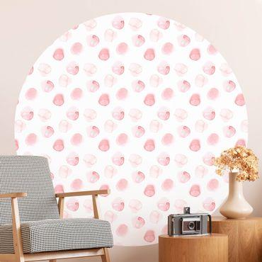 Runde Tapete selbstklebend - Aquarell Punkte Rosa