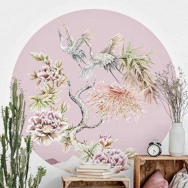 Runde Tapete selbstklebend - Aquarell Störche im Flug mit Blumen auf Rosa