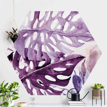 Hexagon Mustertapete selbstklebend - Aquarell Tropische Blätter mit Monstera in Aubergine