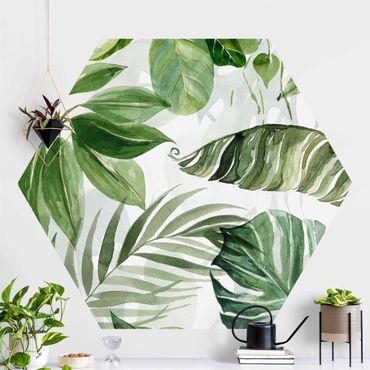 Hexagon Mustertapete selbstklebend - Aquarell Tropische Blätter und Ranken