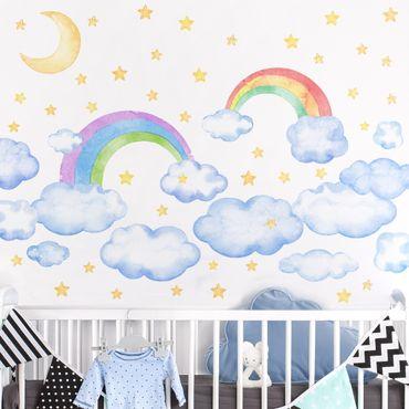 Wandtattoo mehrfarbig - Aquarell Wolken Regenbogen Sterne Set