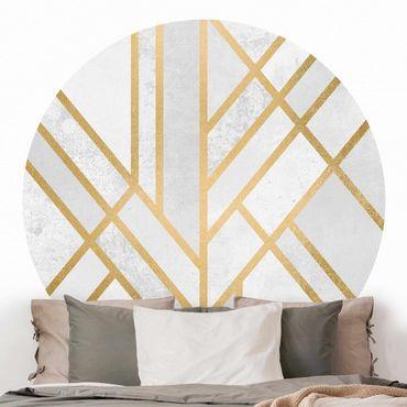 Runde Tapete selbstklebend - Art Deco Geometrie Weiß Gold