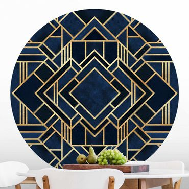 Runde Tapete selbstklebend - Art Deco Gold