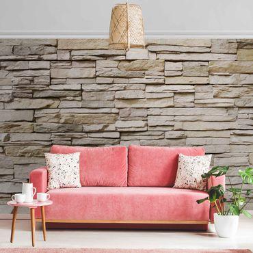 Metallic Tapete  - Asian Stonewall - Steinmauer aus großen hellen Steinen