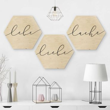 Hexagon Bild Holz 3-teilig - Lebe Liebe Lache Kalligraphie