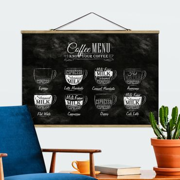 Stoffbild mit Posterleisten - Kaffeesorten Kreidetafel - Querformat 2:3