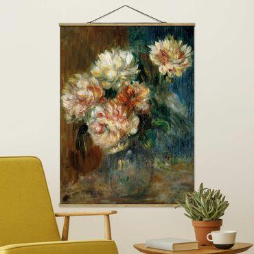 Stoffbild mit Posterleisten - Auguste Renoir - Vase Pfingstrosen - Hochformat 3:4