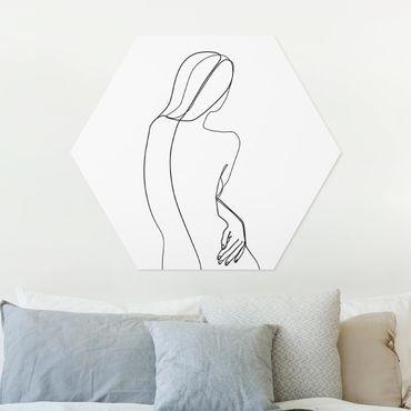 Hexagon Bild Forex - Line Art Rücken Frau Schwarz Weiß