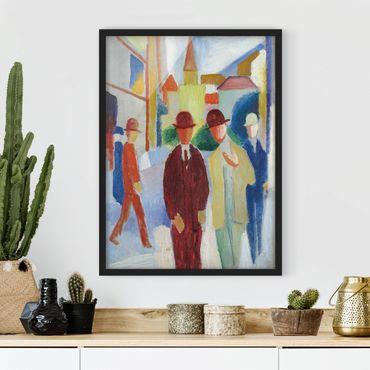 Bild mit Rahmen - August Macke - Helle Straße mit Leuten - Hochformat 3:4