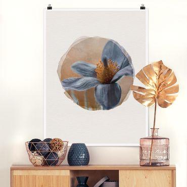 Poster - Wasserfarben - Kuhschelle in Blau - Hochformat 4:3