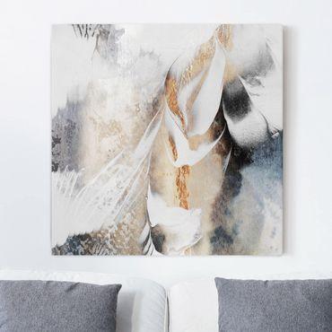Leinwandbild - Goldene abstrakte Wintermalerei - Quadrat 1:1
