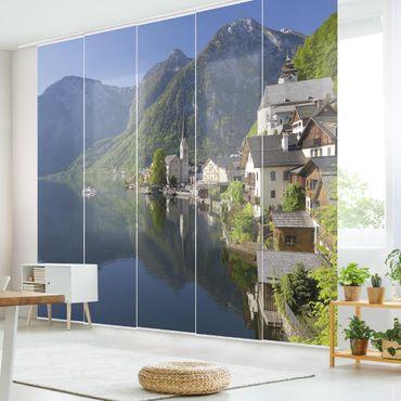 Schiebegardinen Set - Hallstätter See und Bergblick - Flächenvorhänge