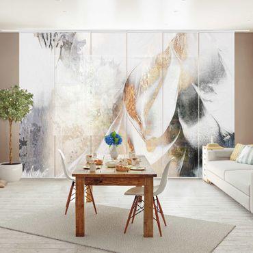 Schiebegardinen Set - Elisabeth Fredriksson - Goldene abstrakte Wintermalerei - 6 Flächenvorhänge