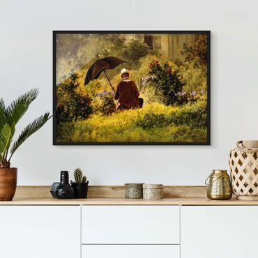 Bild mit Rahmen - Carl Spitzweg - Der Maler im Garten - Querformat 3:4