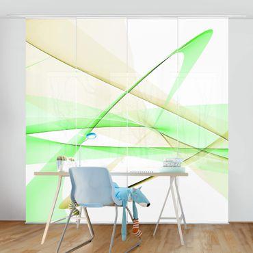 Schiebegardinen Set - Transparent Waves - Flächenvorhänge