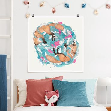 Poster - Illustration Füchse und Wellen Malerei - Quadrat 1:1