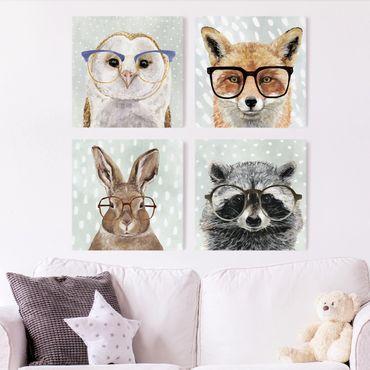 Leinwandbild 4-teilig - Bebrillte Tiere Set II
