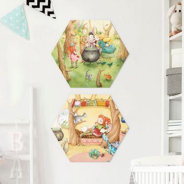 Hexagon Bild Forex 2-teilig - Frida's Hexen Geschichten