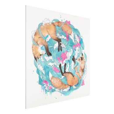 Forex Fine Art Print - Illustration Füchse und Wellen Malerei - Quadrat 1:1