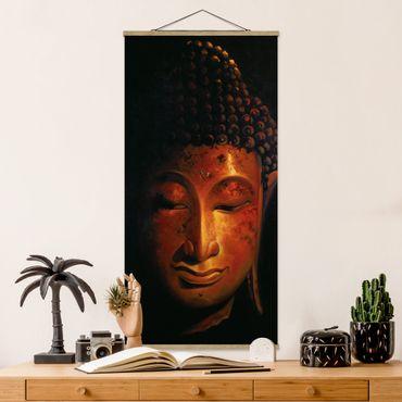Stoffbild mit Posterleisten - Madras Buddha - Hochformat 2:1