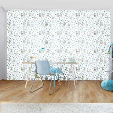 Schiebegardinen Set - Blaue Blumen mit Mäusen - 6 Flächenvorhänge