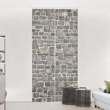 Schiebegardinen Set - Natursteinwand - Flächenvorhänge