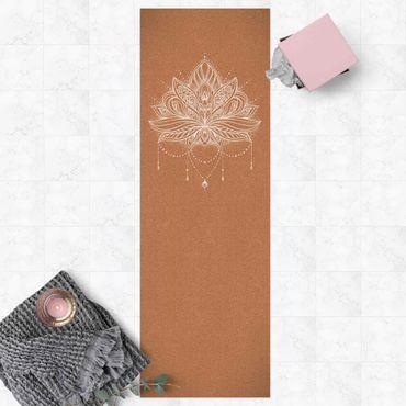 Vinyl-Teppich - Boho Lotusblüte weiß Korkoptik - Panorama Hoch 1:3