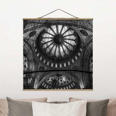 Stoffbild mit Posterleisten - Die Kuppeln der blauen Moschee - Quadrat 1:1