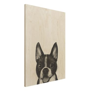 Holzbild - Illustration Hund Boston Schwarz Weiß Malerei - Hochformat 4:3