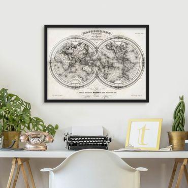 Bild mit Rahmen - Weltkarte - Französische Karte der Hemissphären von 1848 - Querformat 3:4