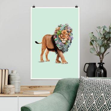Poster - Jonas Loose - Löwe mit Sukkulenten - Hochformat 3:2