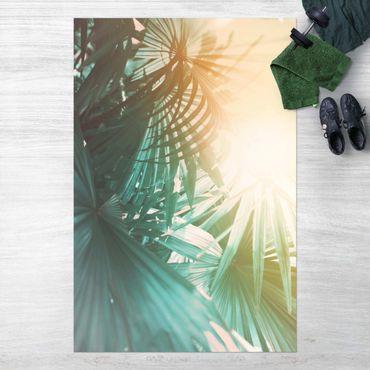Vinyl-Teppich - Tropische Pflanzen Palmen bei Sonnenuntergang - Hochformat 2:3